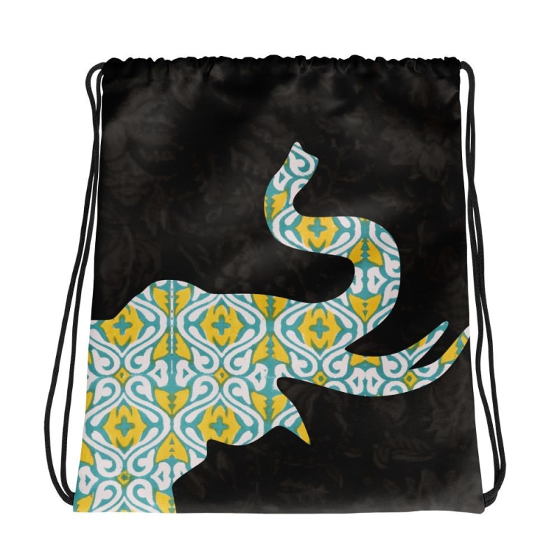 Elephant Drawstring Bag Block Elephant Bag