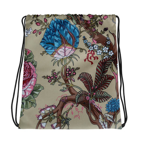 Floral Drawstring bag, Floral Gym Bag - TheVirasat - Home Furnishings Textile Exporter