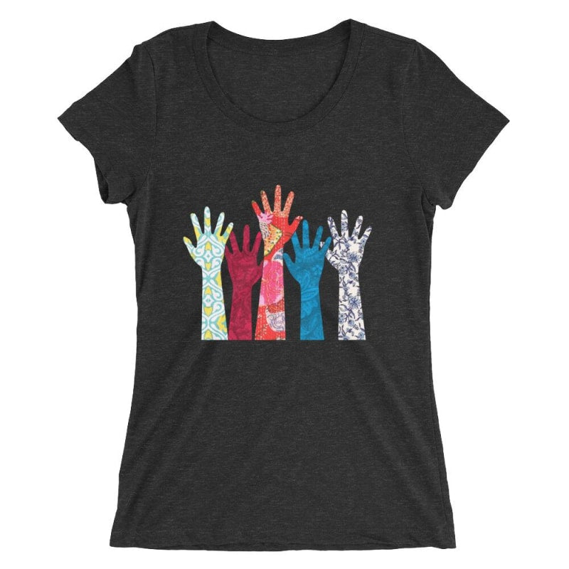 Hand Ladies Short Sleeve T-Shirt - Printed - Charcoal-Black Triblend / S
