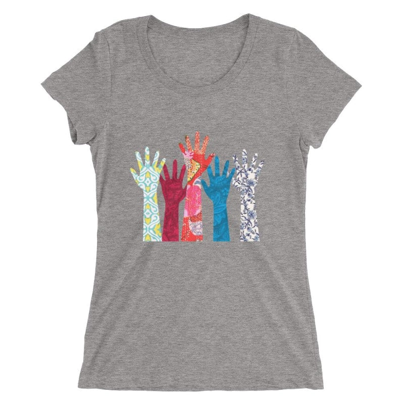 Hand Ladies Short Sleeve T-Shirt - Printed - Grey Triblend / S
