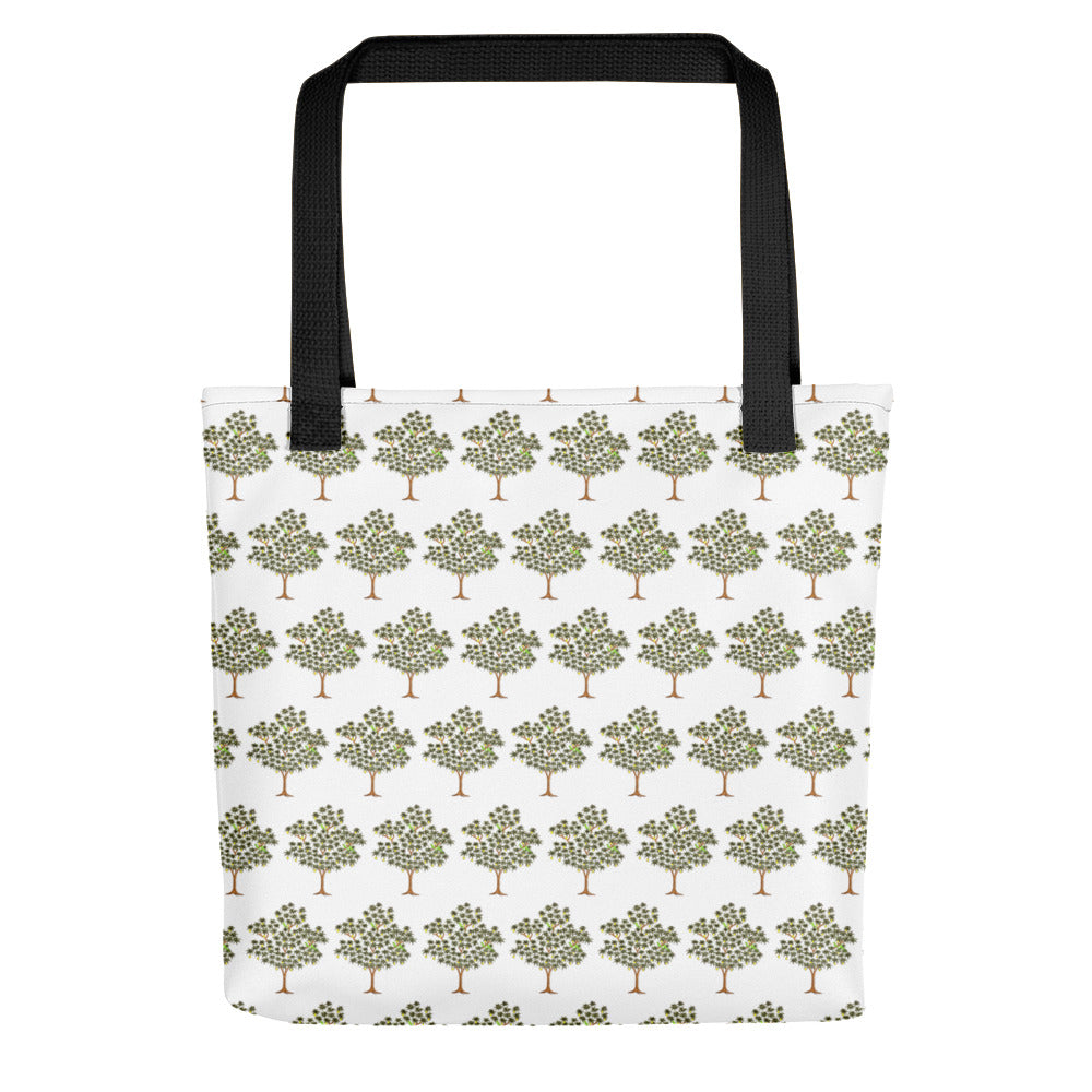 White Cotton Tree Printed Tote Bag