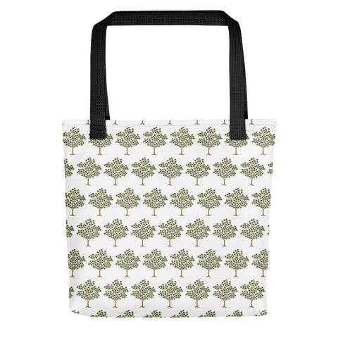 White Cotton Tree Printed Tote Bag - TheVirasat - Home Furnishings Textile Exporter