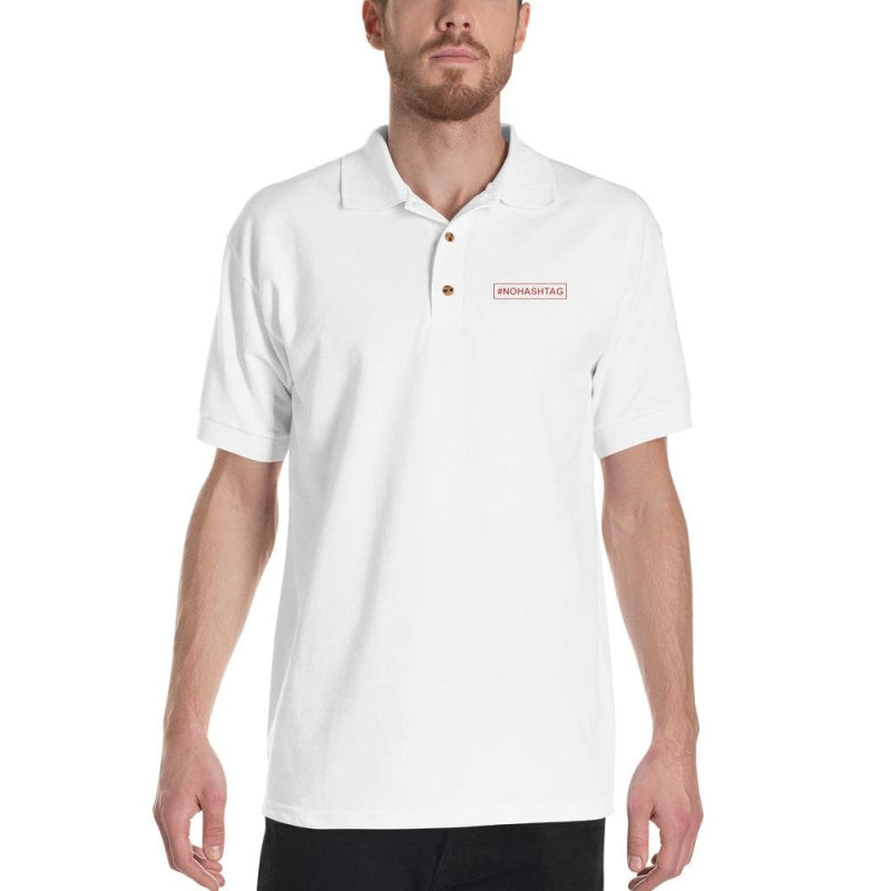 No Hashtag Embroidered Polo Shirt  - Printed