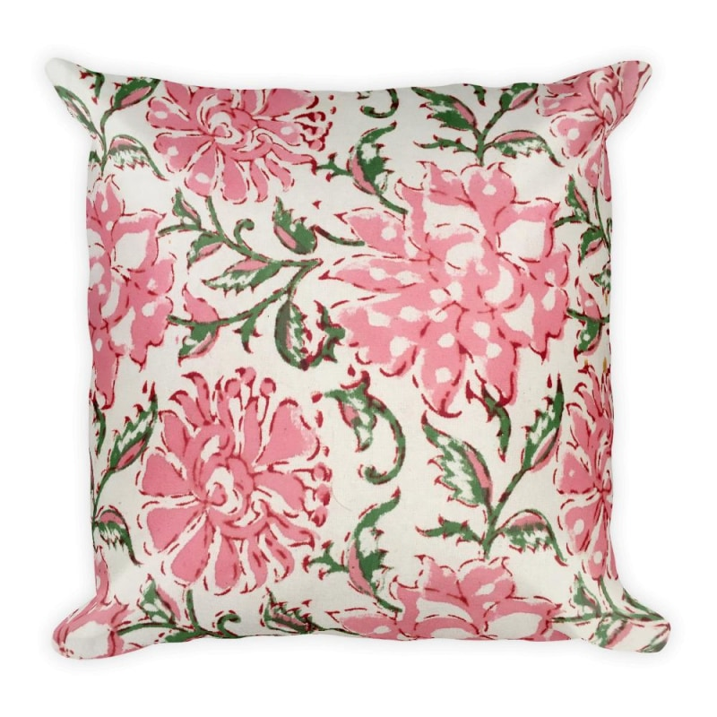 Pink Flowers Square Pillow - Printed - TheVirasat - Home Furnishings Textile Exporter