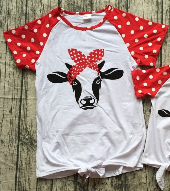 baby girls spring summer red white polka dot 4th of july indpendence day  cow head bull mommy me shirts top