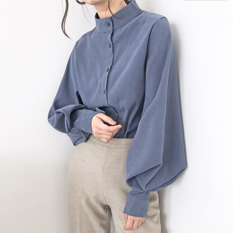 Vintage Lantern Sleeve Autumn Winter Thicken Women Shirt