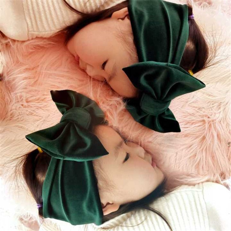 New Fashion 9colors Big bowknot Headband baby girl headbands Bow hair band children kid Cotton turban Head Wrap Hair Accessories