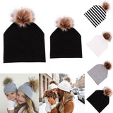 Mommy and Baby Hat Winter Warm Women Kids Cotton Hat Caps