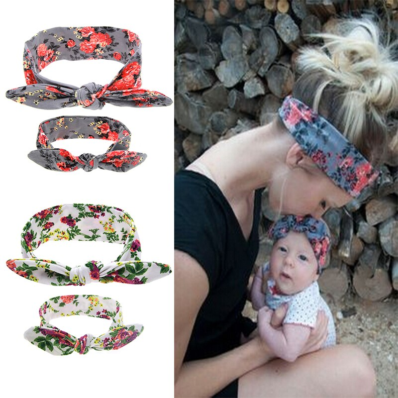 2Pcs/Set Mom and Me Boho Turban Headband Top Knotted Bunny Ears Elastic