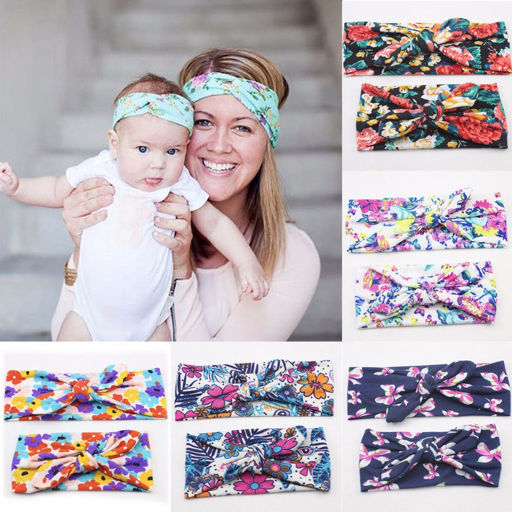 Puseky 2Pcs/Set Mommy and Me Matching Turban Headband Set
