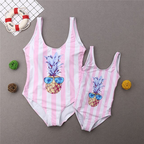 Mother Daughter Swimwear Kids Women Swimsuit Bikini