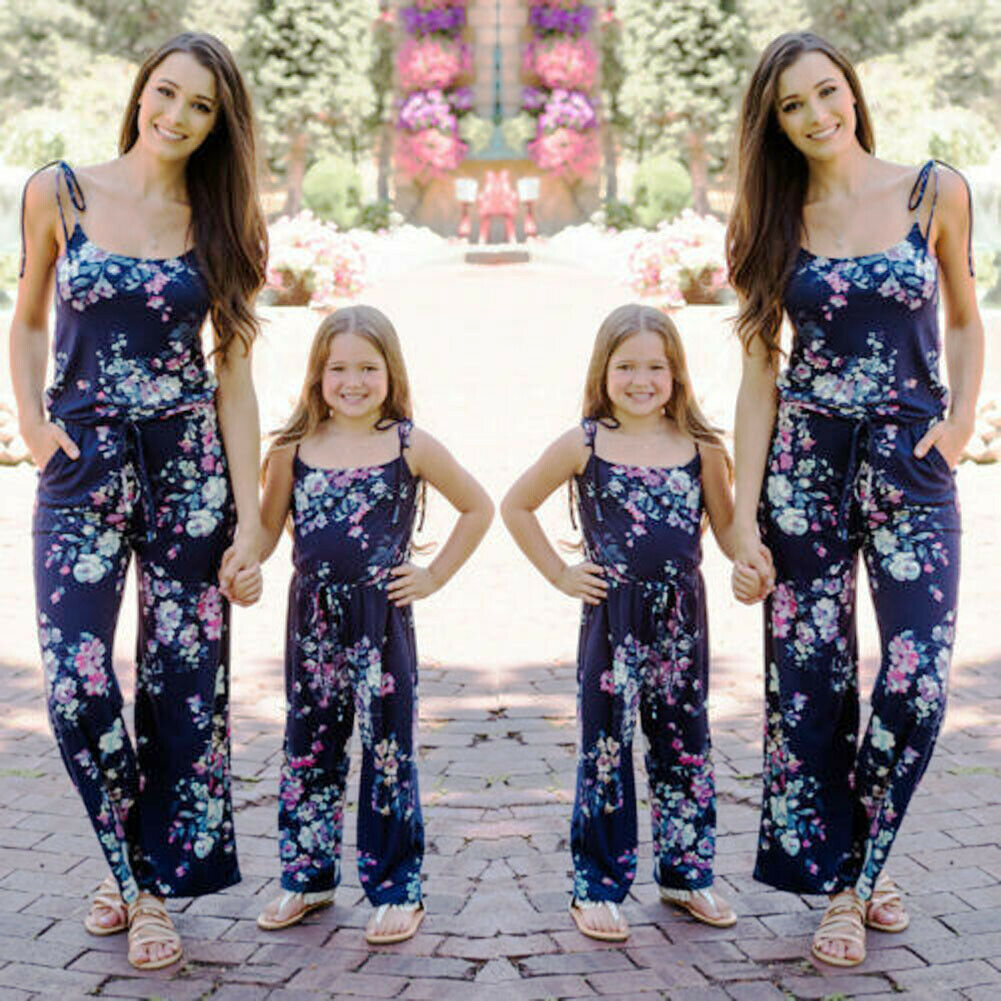 New Summer Casual Mommy and Me Family Matching Floral Printed Jumpsuits Outfits