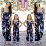 2019 New Summer Casual Mommy and Me Family Matching Floral Printed Jumpsuits Outfits Mother and Daughter Girl Flower Jumpsuit