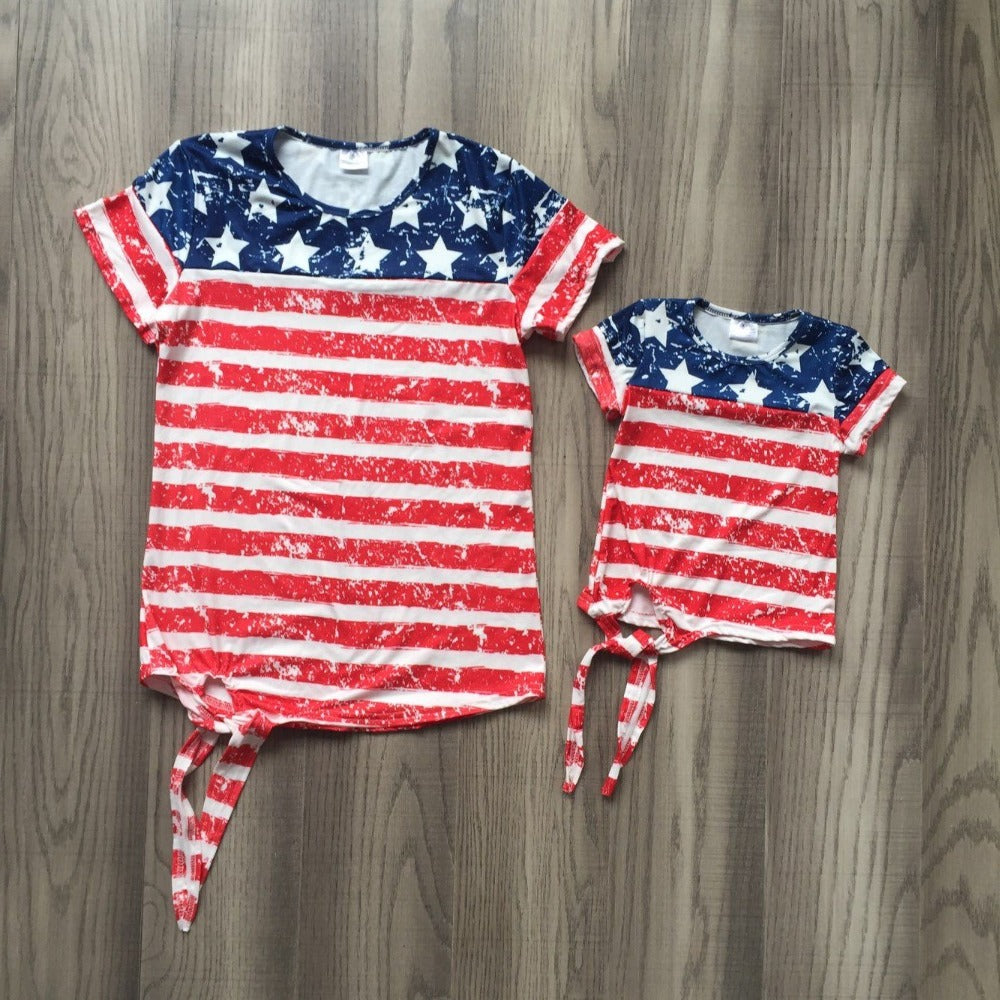 new arrivals baby girls spring summer T-shirts 4th of july indpendence day baby and mom clothes mommy me shirts