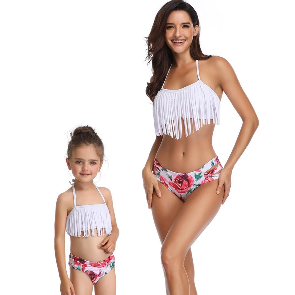 Tassel Beach 2 Piece Set Mother and Daughter Clothes Floral Printed Summer Swimsuit Family Look Mommy and Me Bikini Bathing Suit