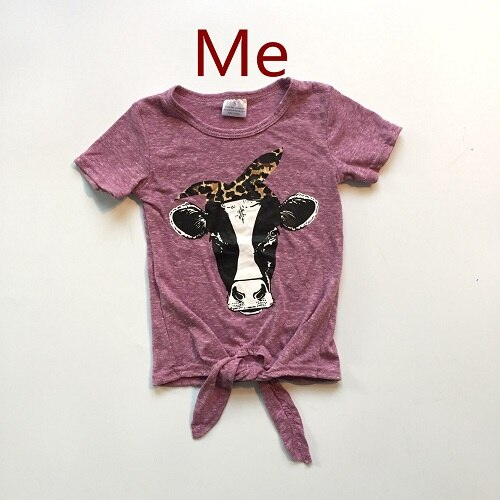Mommy and baby girls summer T-shirts baby kids wine red shirt with cow head print baby and mom clothes mommy me shirts
