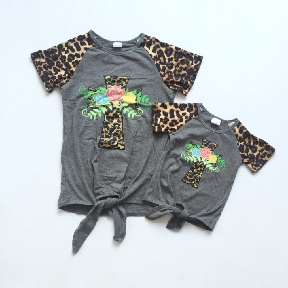 baby girls summer T-shirts grey shirt cross-shaped floral shirt leopard sleeve baby and mom clothes mommy me shirts