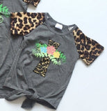 Baby girls summer T-shirts grey shirt cross-shaped floral shirt