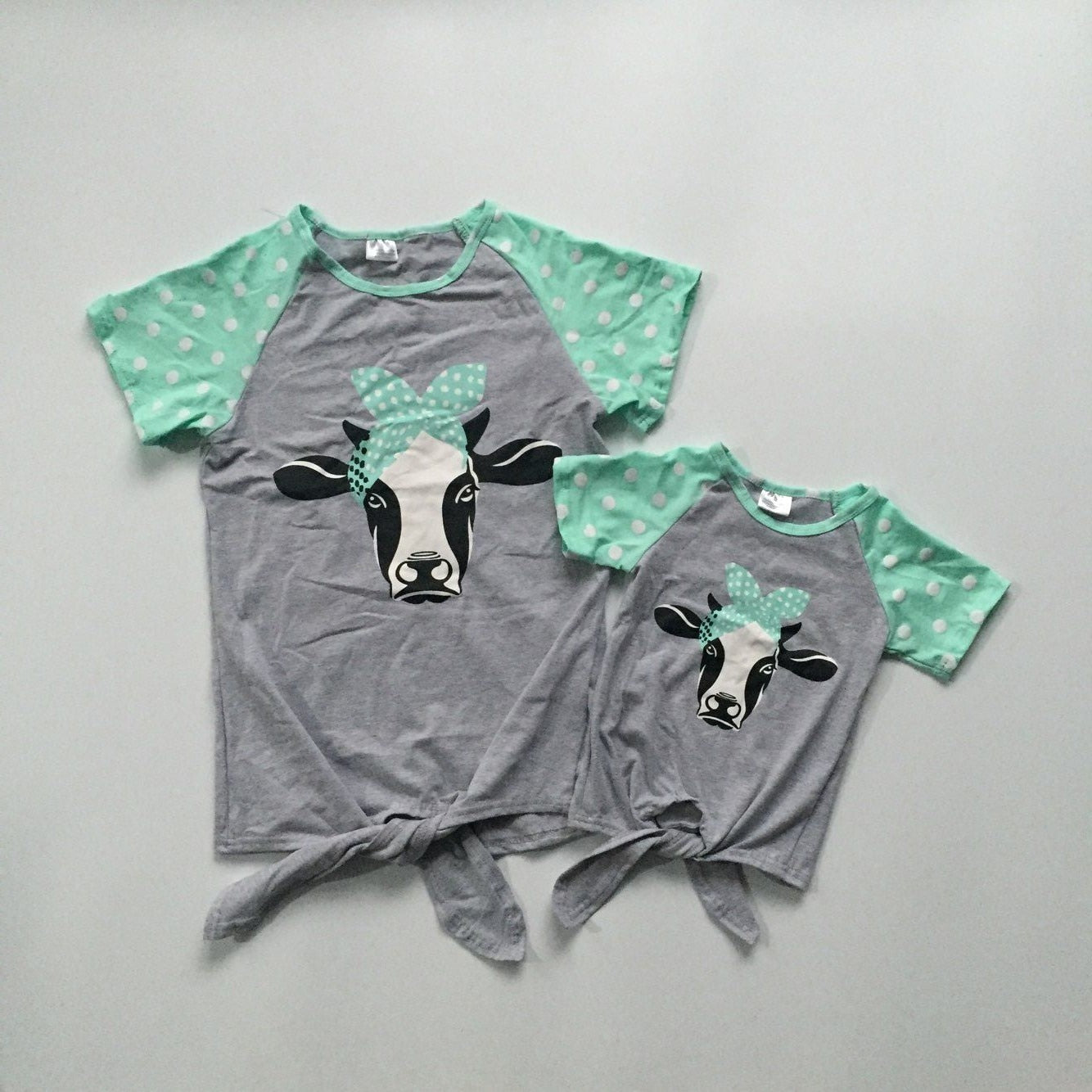 Mommy and baby girls clothes summer T-shirts grey shirts with cow head green sleeve shirts baby and mom clothes mommy me shirts