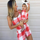 Mommy And Me Clothes Set Summer Matching Mom Girl Sets Plaid Short Sleeve