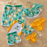 Mother Daughter Dad Son Family Matching Swimwear Mommy And Me Clothes Men Boy Swimsuit Girl Bathing Suit Bikini