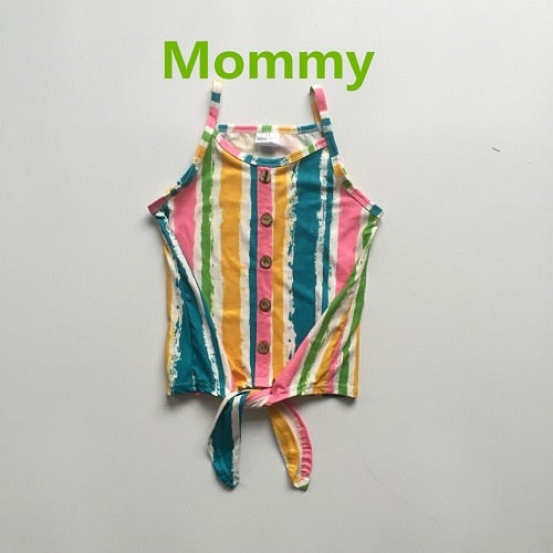 Mommy and baby girls summer top clothes multicolor stripes mommy me clothes