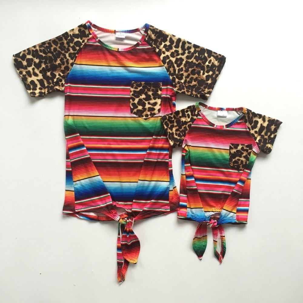 Mommy and baby girls summer T-shirts multicolor stripes shirt with leopard print sleeve mommy me shirts