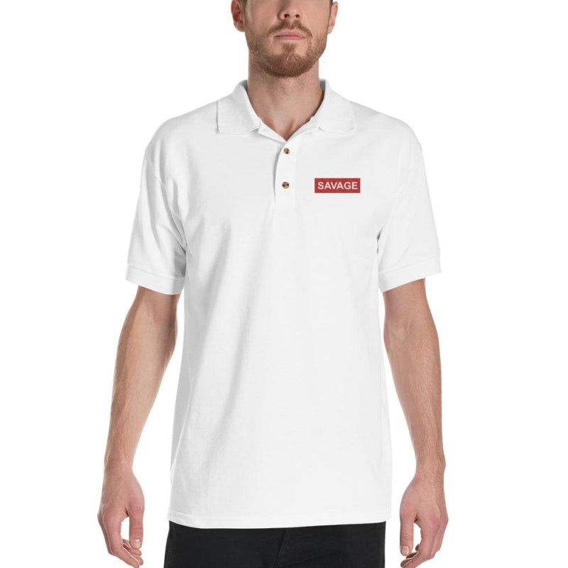 Savage Embroidered Polo Shirt - Printed - TheVirasat - Home Furnishings Textile Exporter