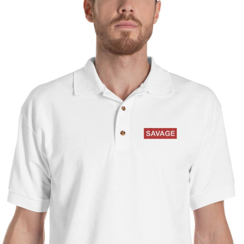 Savage Embroidered Polo Shirt - Printed