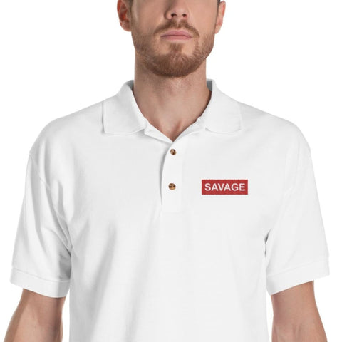 Savage Embroidered Polo Shirt - Printed - S