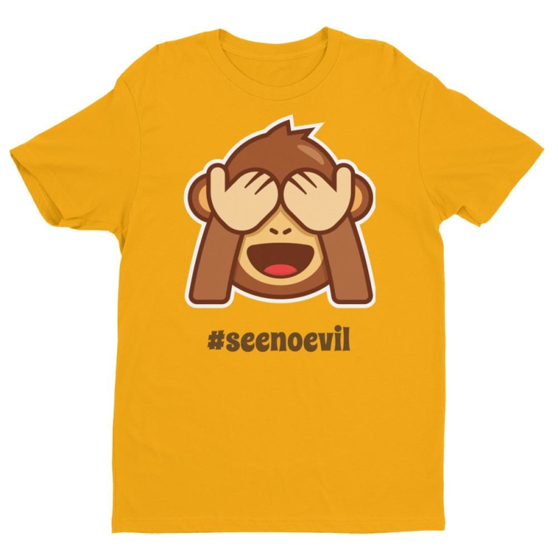 See No Evil Short Sleeve T-Shirt - Printed - Gold / Xs