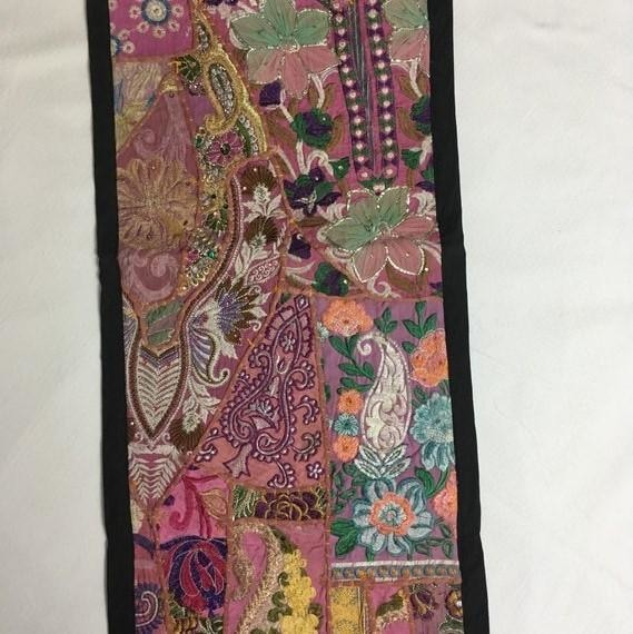 Table Runner, Wall Hanging, Boho Tapestry, Vintage Saree Runner - TheVirasat - Home Furnishings Textile Exporter