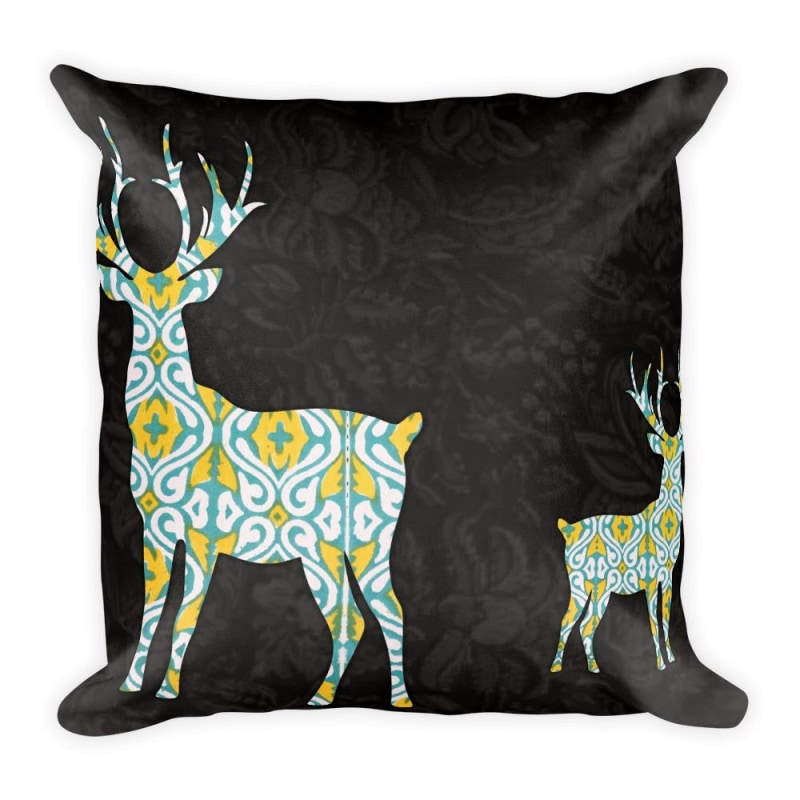 Two Deer Square Pillow, Premium Throw Cushion, Printed Pillow - TheVirasat - Home Furnishings Textile Exporter