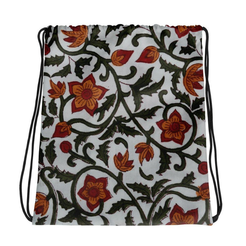 Watercolour Floral Backpack, Drawstring bag, Floral Bag - TheVirasat - Home Furnishings Textile Exporter