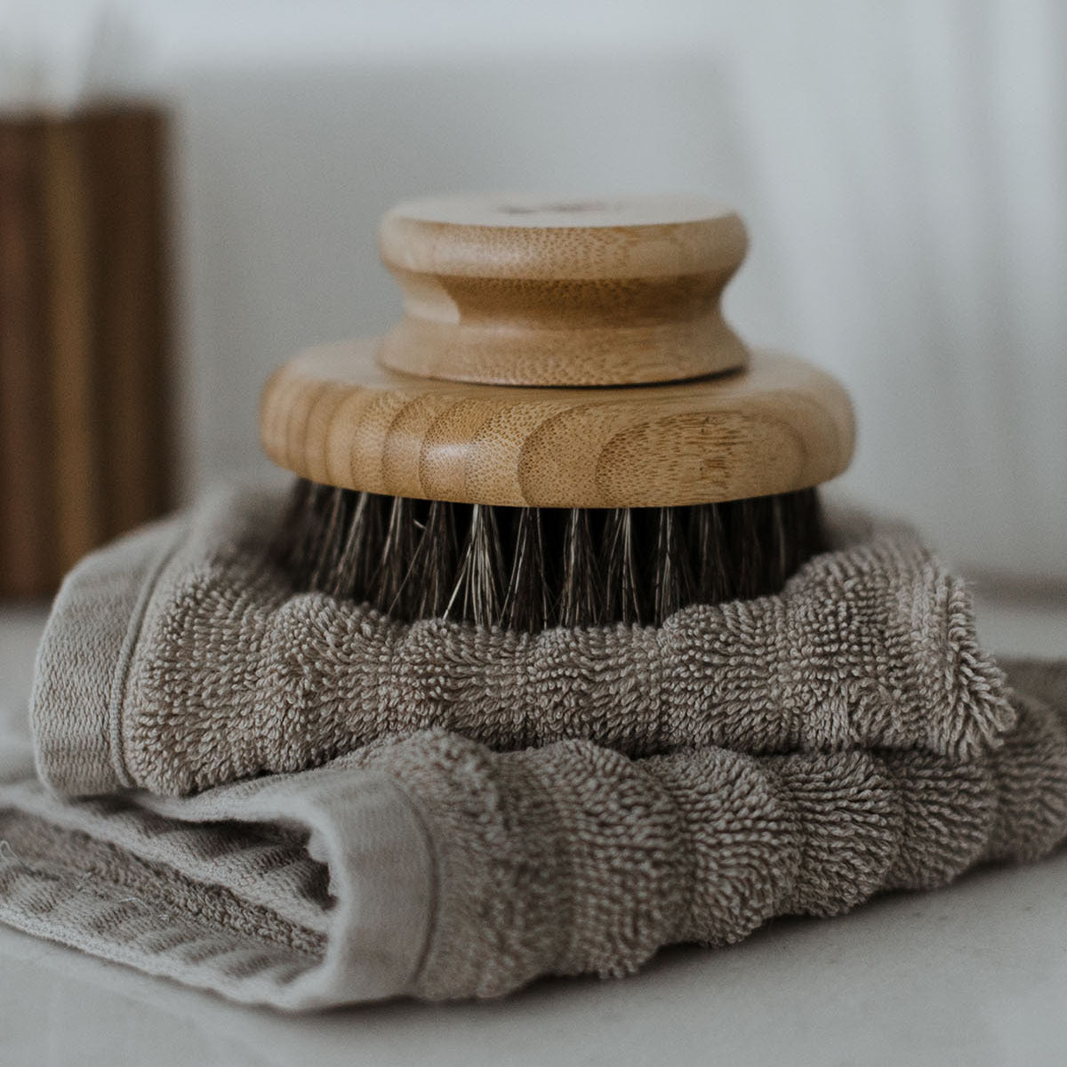 Photograph of the Dry Brush sitting on top of a folded gray towel.