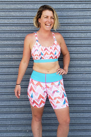 Summer Chevron Mid-Thigh Shorts