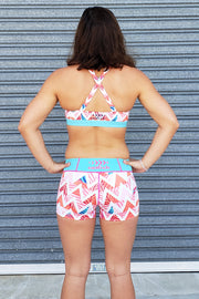 Summer Chevron X Back Crop Top