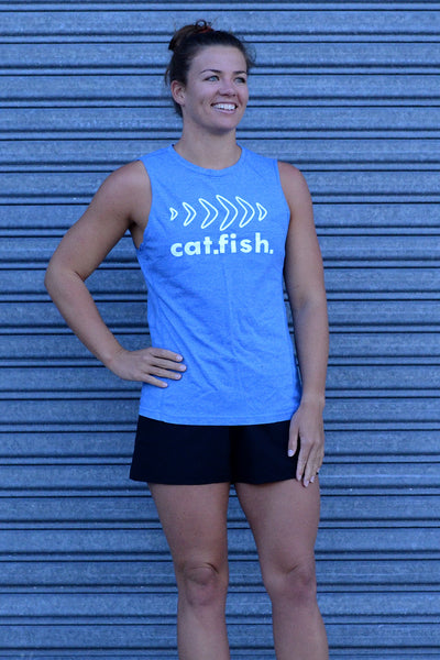 Catfish Muscle Tee Heather Blue