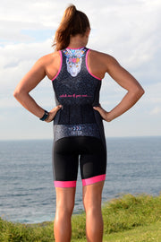 Girl's Leopard Can't Change Her Spots Zip Tri Suit