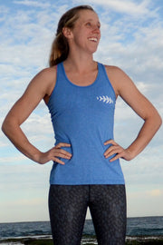 Catfish Racer Back Singlet Heather Blue