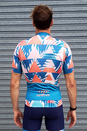 Blue Summer Chevron Cycle Jersey