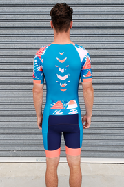 Blue Summer Chevron Sleeve Trisuit