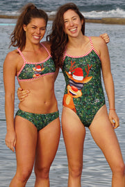 Girl's Christmas Rudolph Strappy Back Bikini