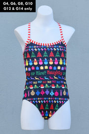 Girl's Christmas Naughty or Nice Strappy Back Racer