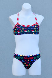 Girl's Christmas Naughty or Nice Cross Back Bikini