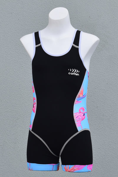 Girl's Blue Flamingo Open Back Race Suit