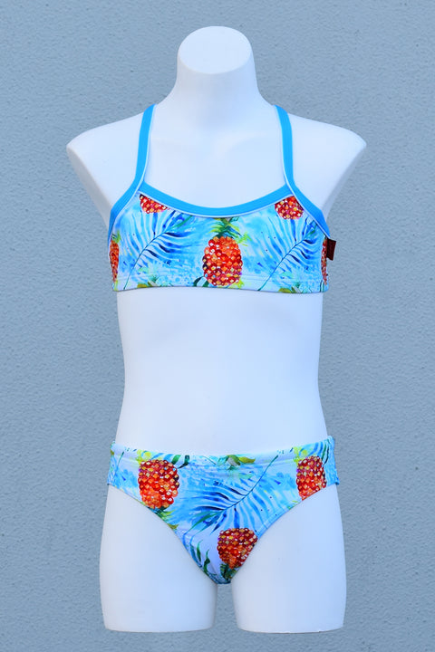 Girl's Water Colour Pineapple Scoop Bikini