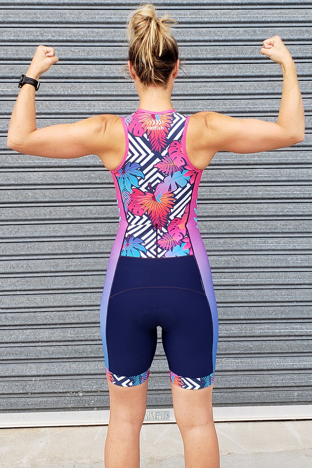 Neon Fern Zip Tri Suit
