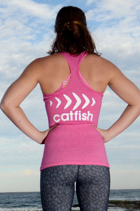 Catfish Racer Back Singlet Heather Pink