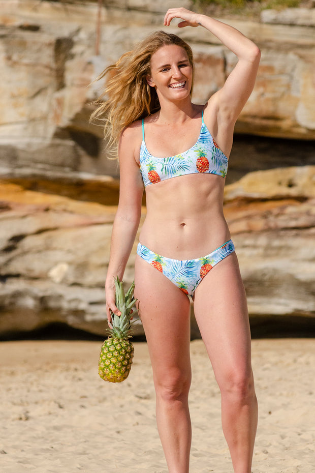 Reversible Bikini Top - Parakeet/Watercolour Pineapples